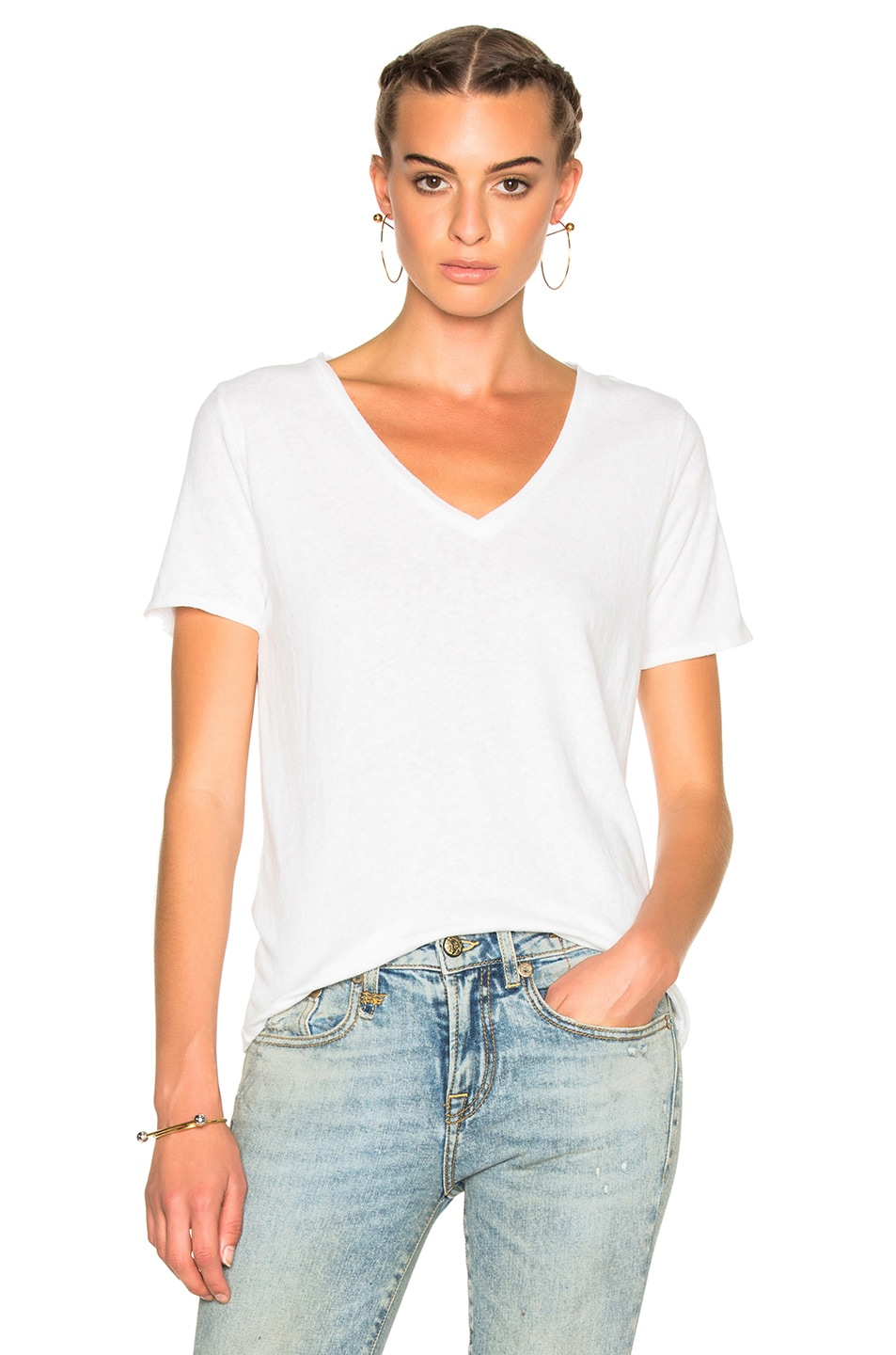 Image 1 of R13 Low V Tee in White