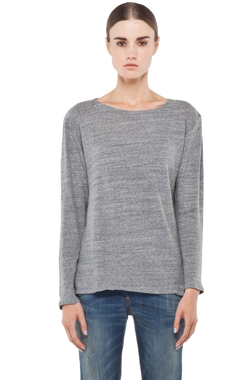 Image 1 of R13 Long Sleeve Boat Neck Tee in Light Heather Grey