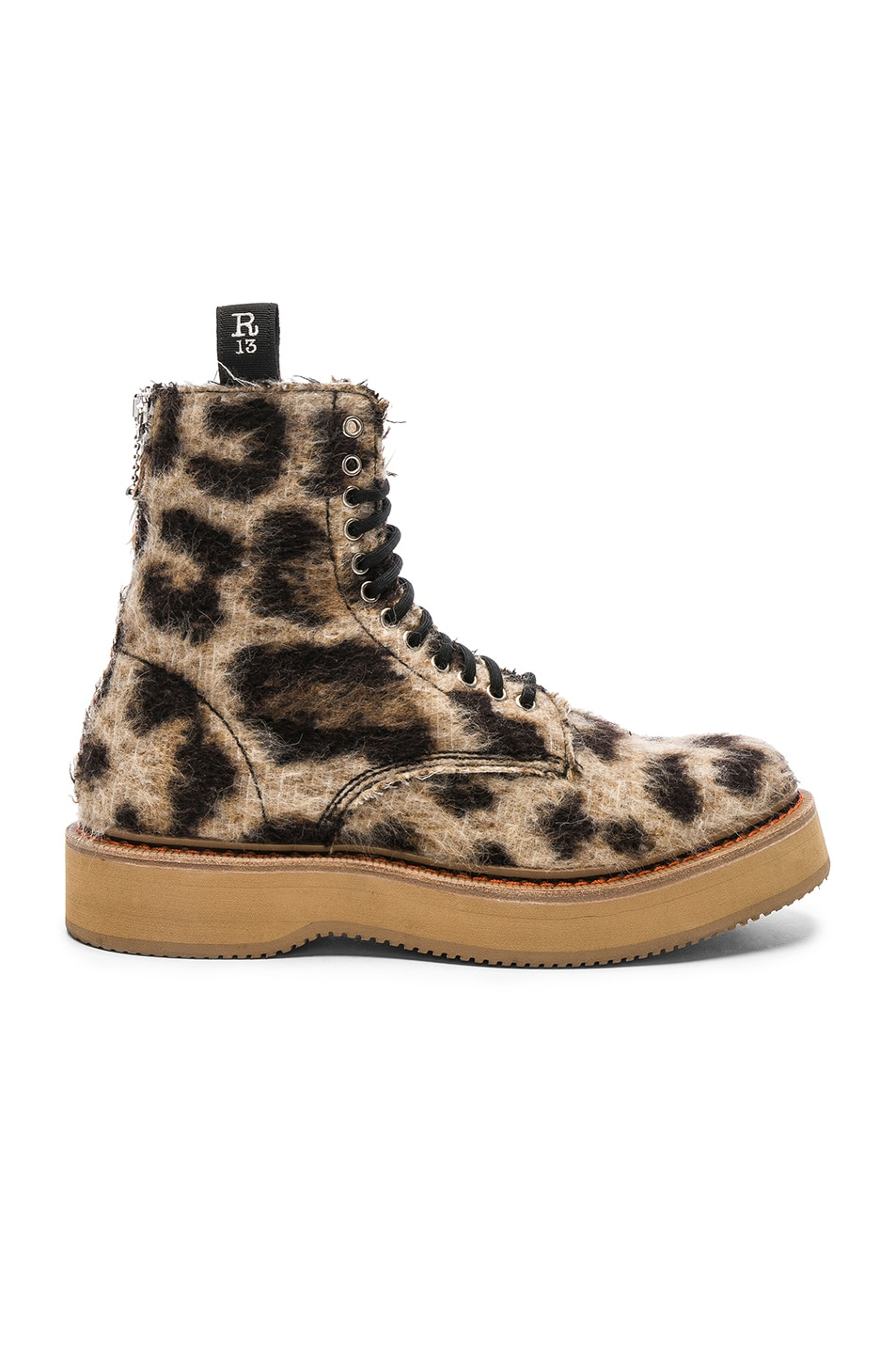 Image 1 of R13 Single Stacked Suede Boot in Leopard