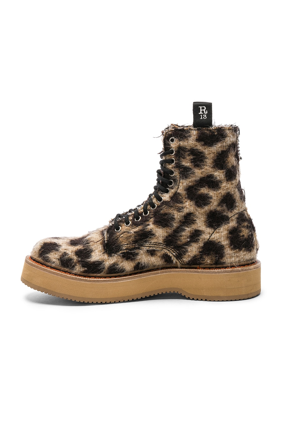 Image 5 of R13 Single Stacked Suede Boot in Leopard