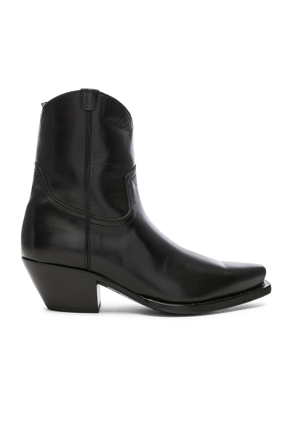 Image 1 of R13 Leather Cowboy Ankle Boots in Black