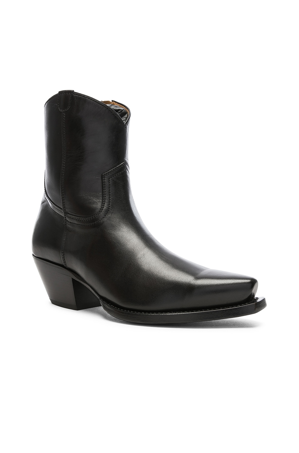 Image 2 of R13 Leather Cowboy Ankle Boots in Black