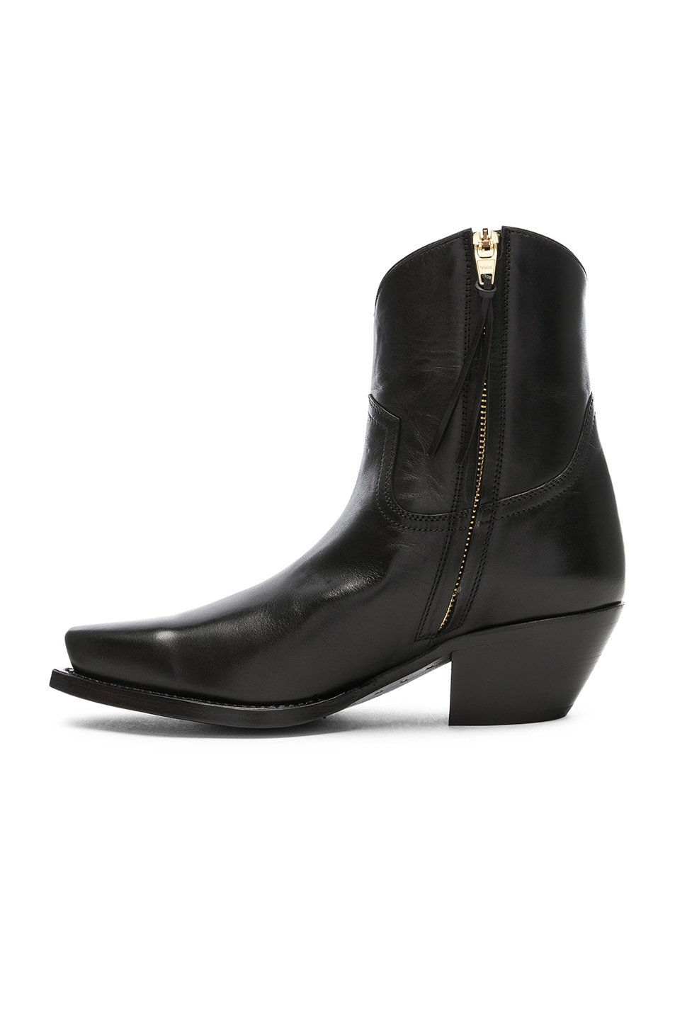 Image 5 of R13 Leather Cowboy Ankle Boots in Black