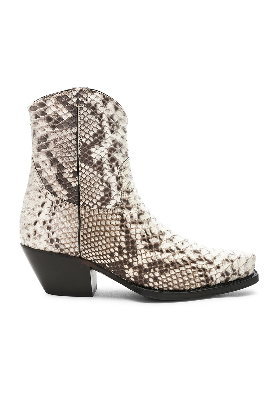 Image 1 of R13 Snakeskin Embossed Cowboy Ankle Boots in Brown Snake