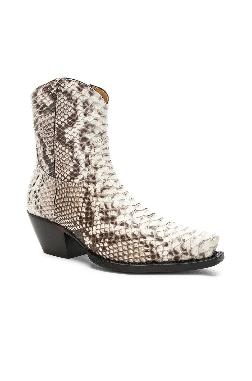 Image 2 of R13 Snakeskin Embossed Cowboy Ankle Boots in Brown Snake