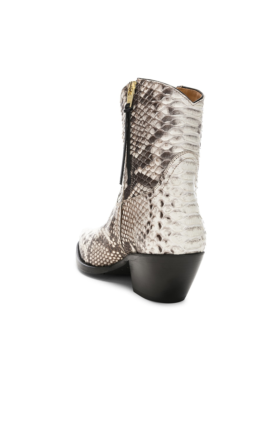 Image 3 of R13 Snakeskin Embossed Cowboy Ankle Boots in Brown Snake