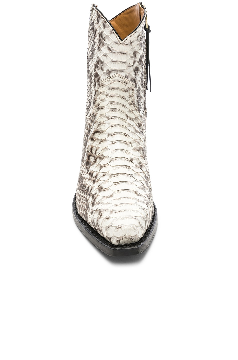 Image 4 of R13 Snakeskin Embossed Cowboy Ankle Boots in Brown Snake