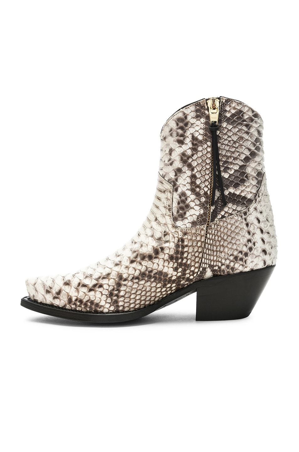 Image 5 of R13 Snakeskin Embossed Cowboy Ankle Boots in Brown Snake