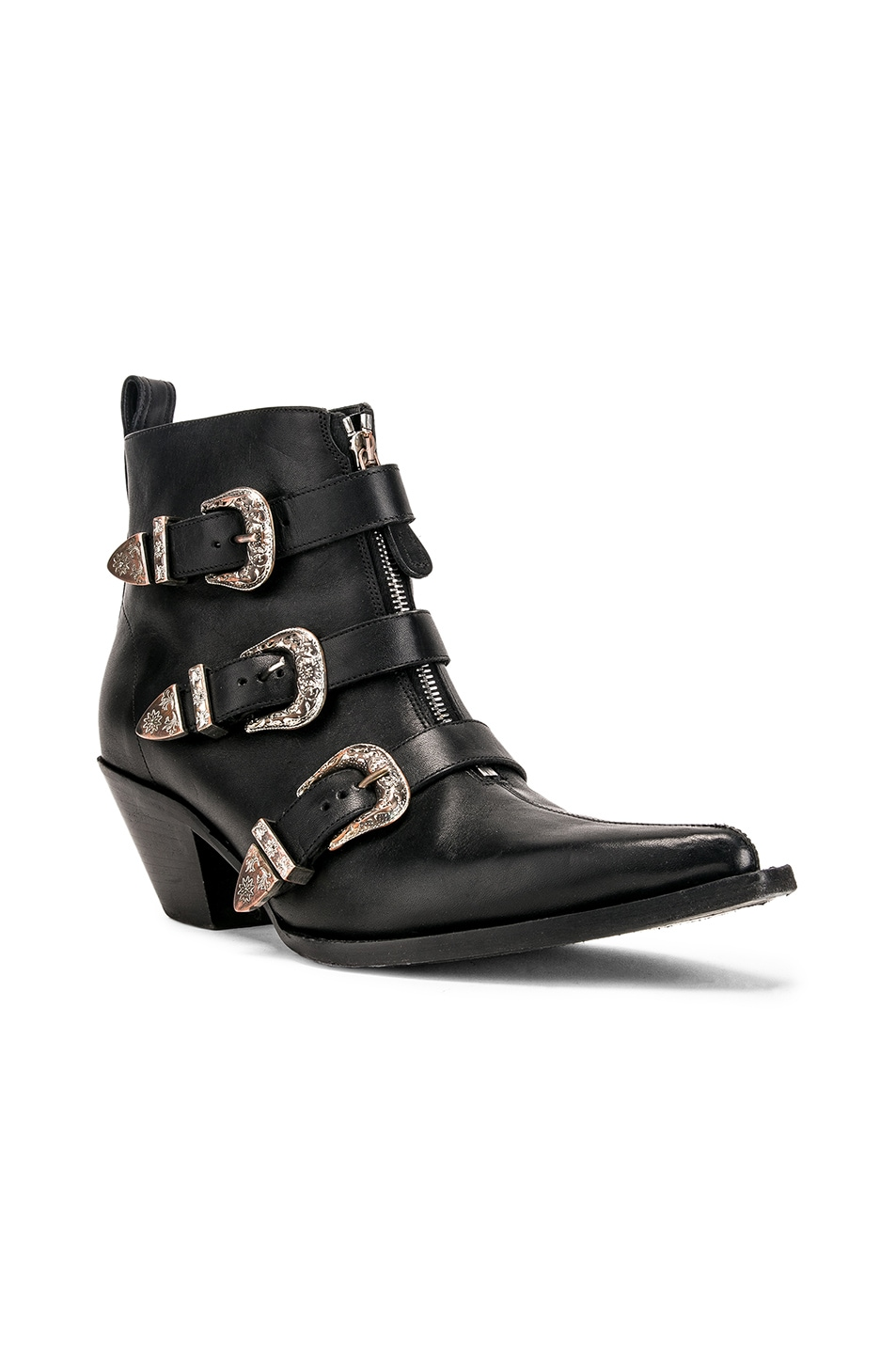 Image 2 of R13 Ankle Three Buckle Boot in Black Leather