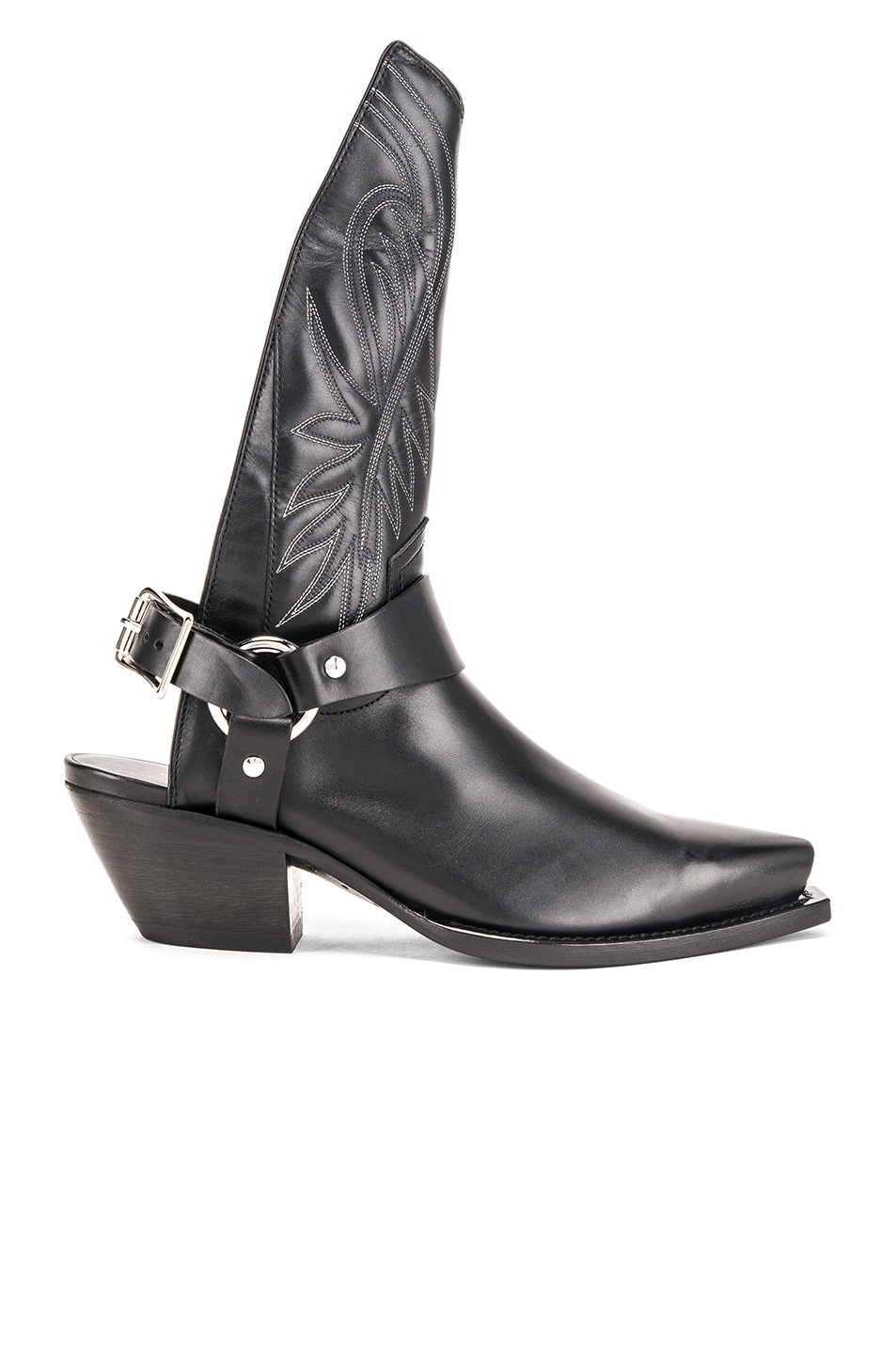Image 1 of R13 Tall Half Harness Cowboy Boot in Black