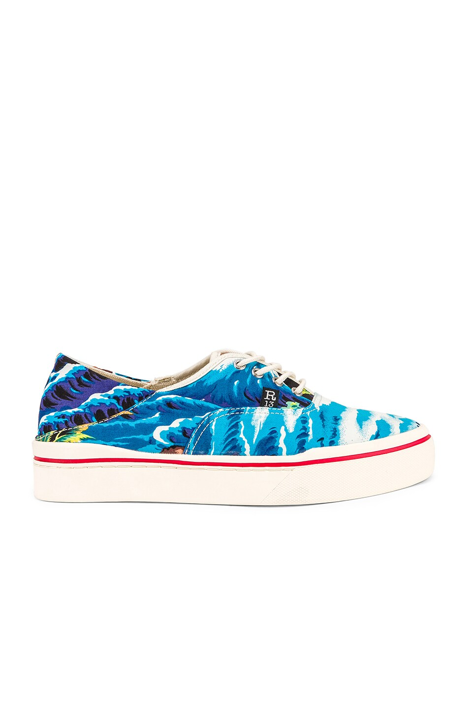 Image 2 of R13 Lace Up Sneaker in Turquoise Wave