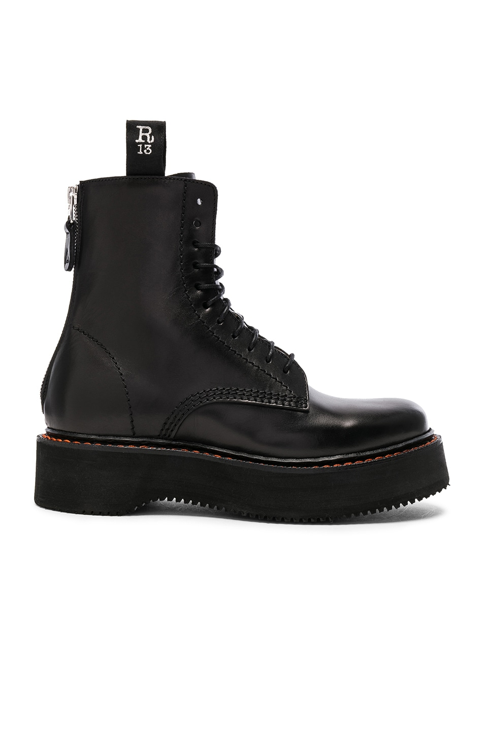 Stacked Multi-Strap Leather Boots, Black