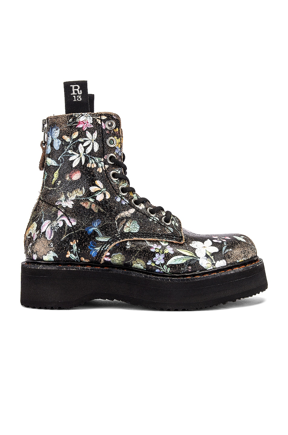Image 1 of R13 Single Stacked Lace Up Boots in Cracked WK6 Floral