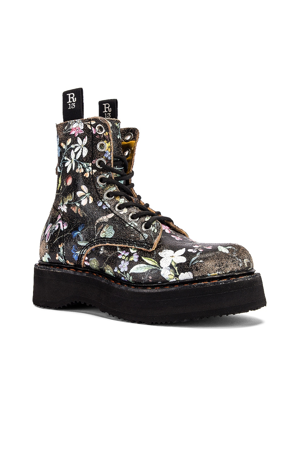 Image 2 of R13 Single Stacked Lace Up Boots in Cracked WK6 Floral