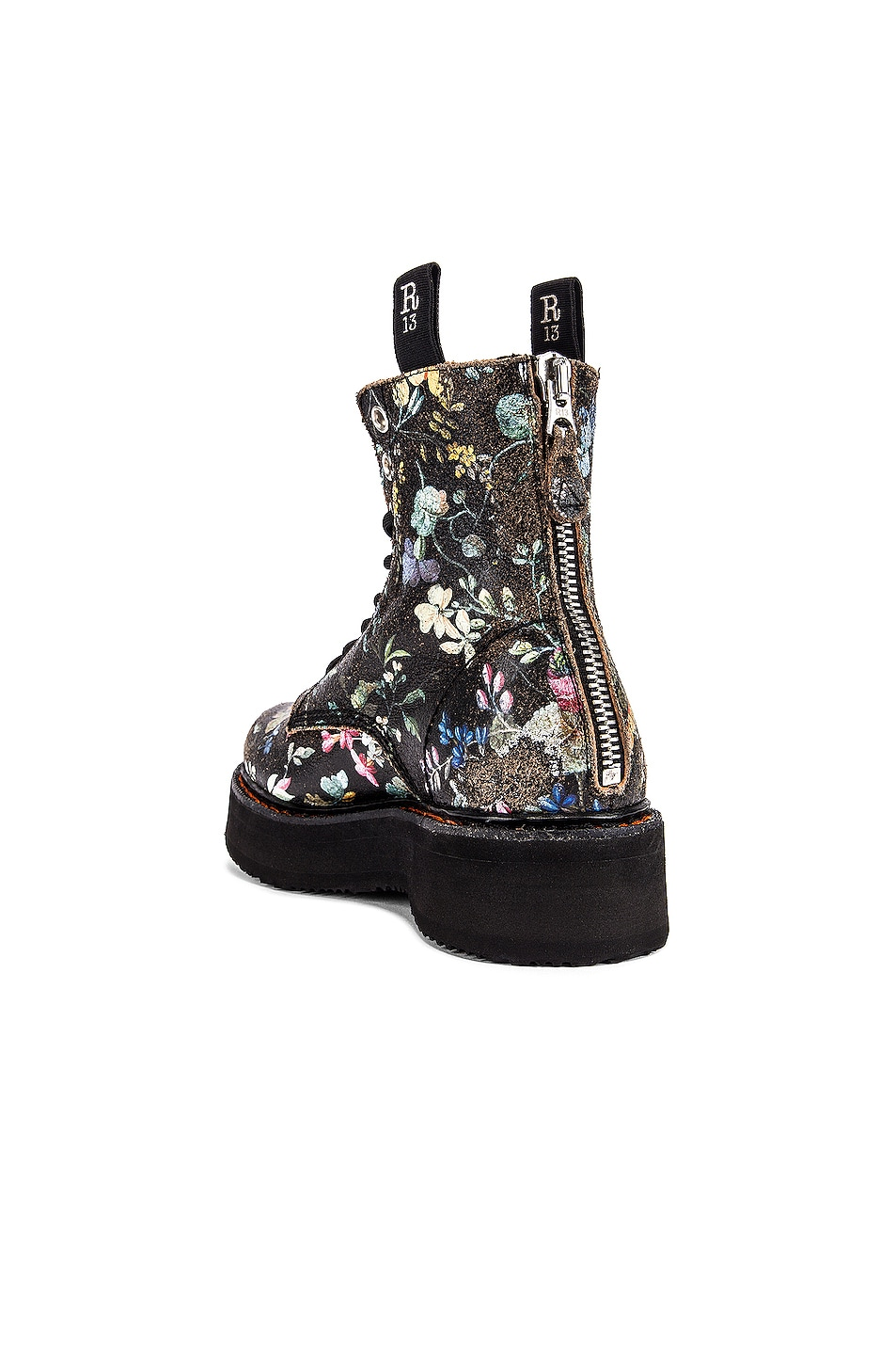 Image 3 of R13 Single Stacked Lace Up Boots in Cracked WK6 Floral