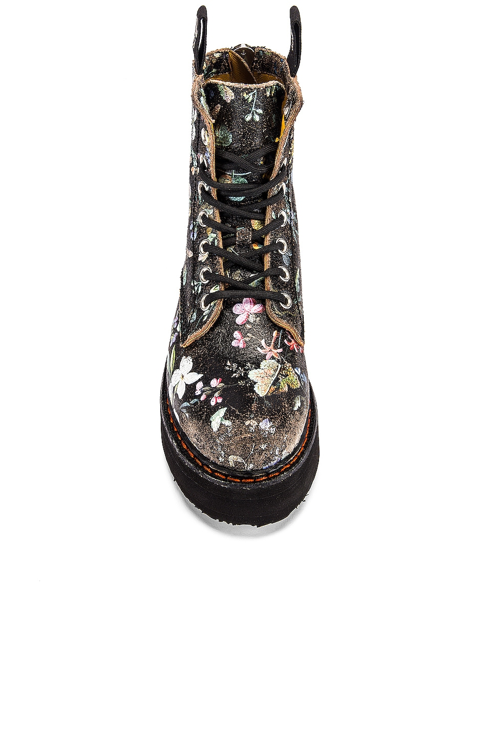 Image 4 of R13 Single Stacked Lace Up Boots in Cracked WK6 Floral