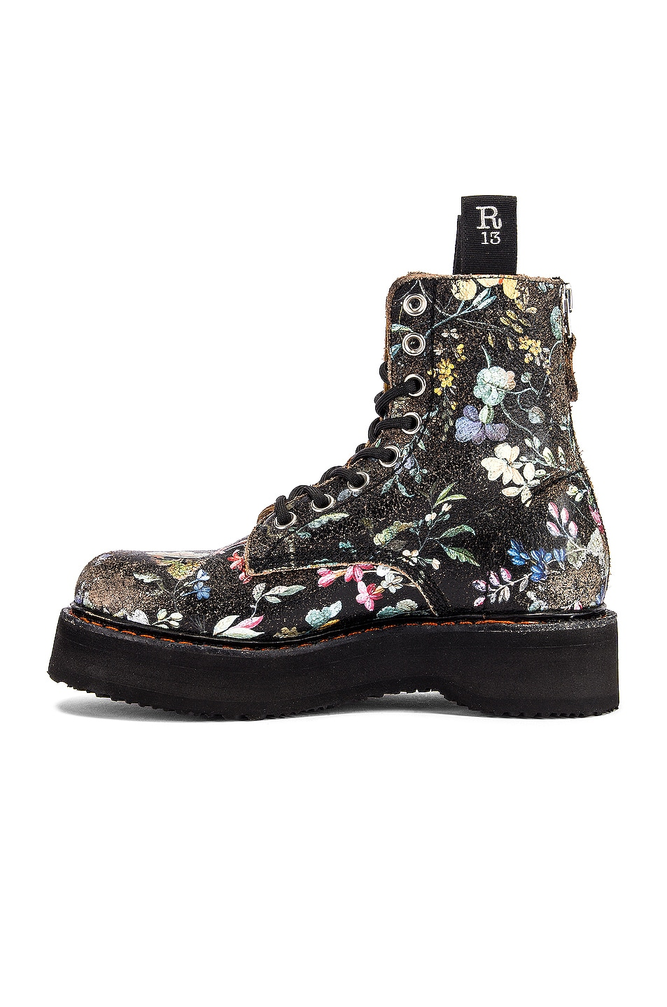 Image 5 of R13 Single Stacked Lace Up Boots in Cracked WK6 Floral