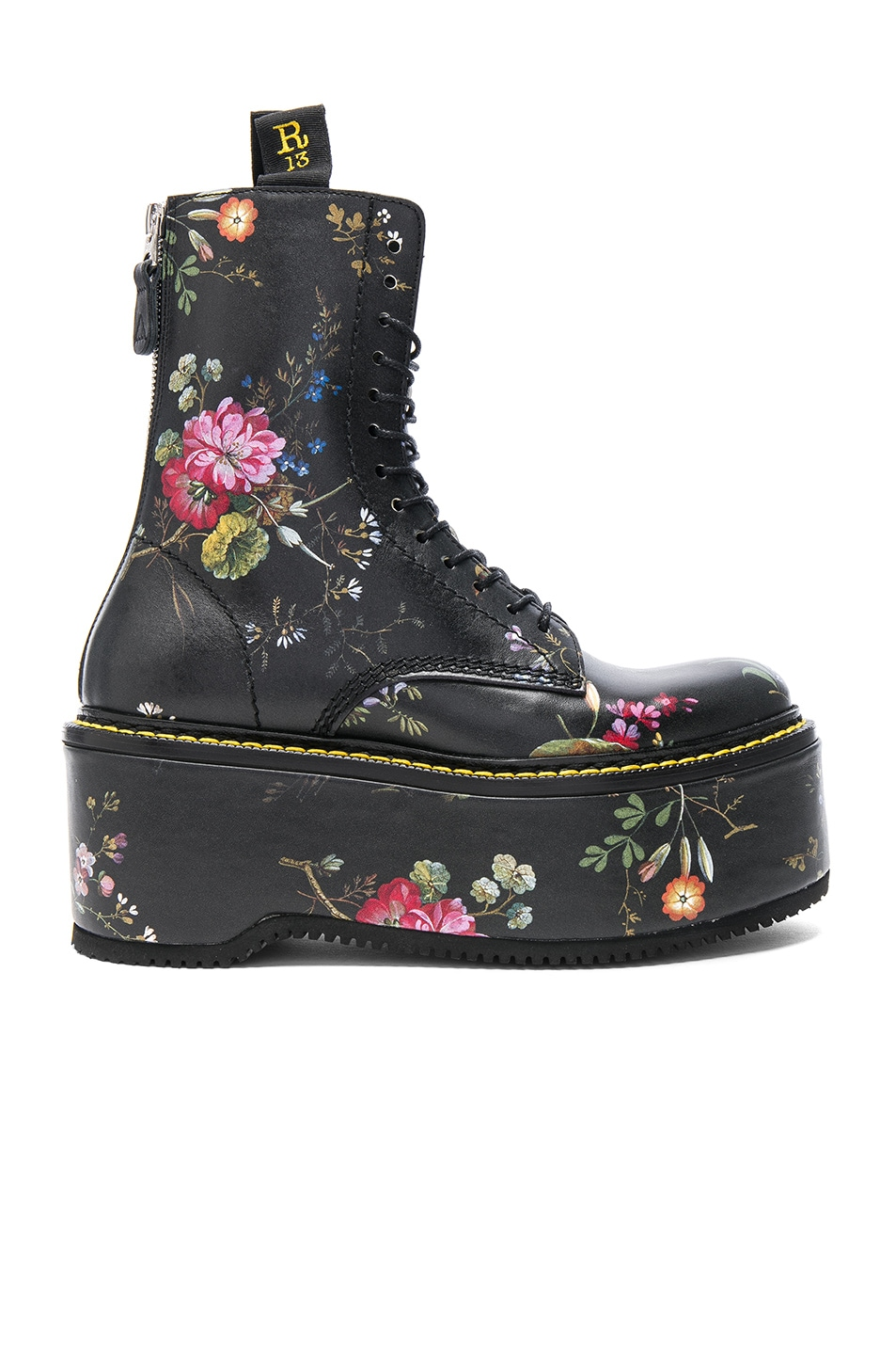 Image 1 of R13 Leather Double Stack Boots in Black Floral