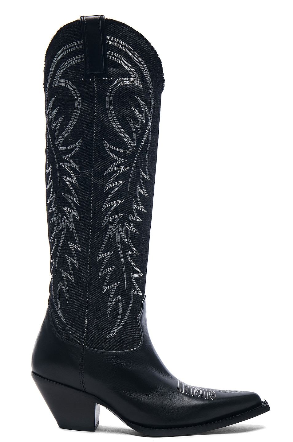Image 1 of R13 Denim Cowboy Mid Straight Cowboy Boots in Black