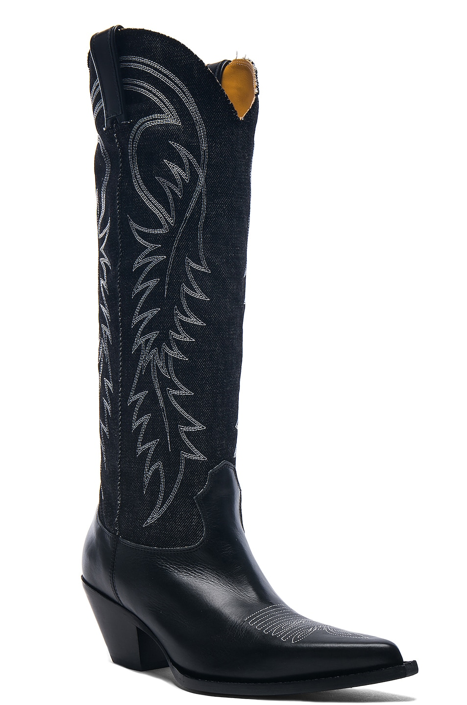 Image 2 of R13 Denim Cowboy Mid Straight Cowboy Boots in Black