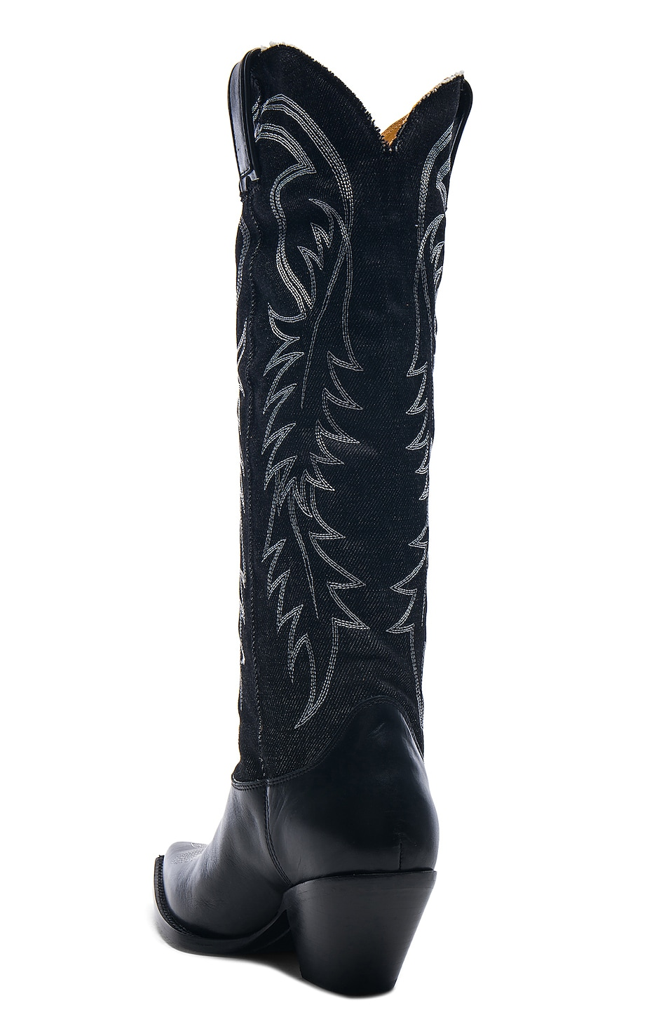 Image 3 of R13 Denim Cowboy Mid Straight Cowboy Boots in Black