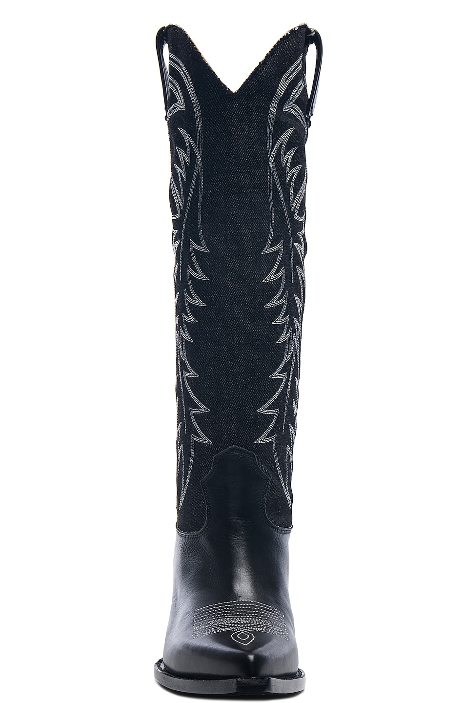Image 4 of R13 Denim Cowboy Mid Straight Cowboy Boots in Black