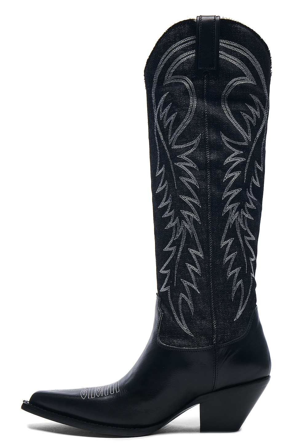 Image 5 of R13 Denim Cowboy Mid Straight Cowboy Boots in Black