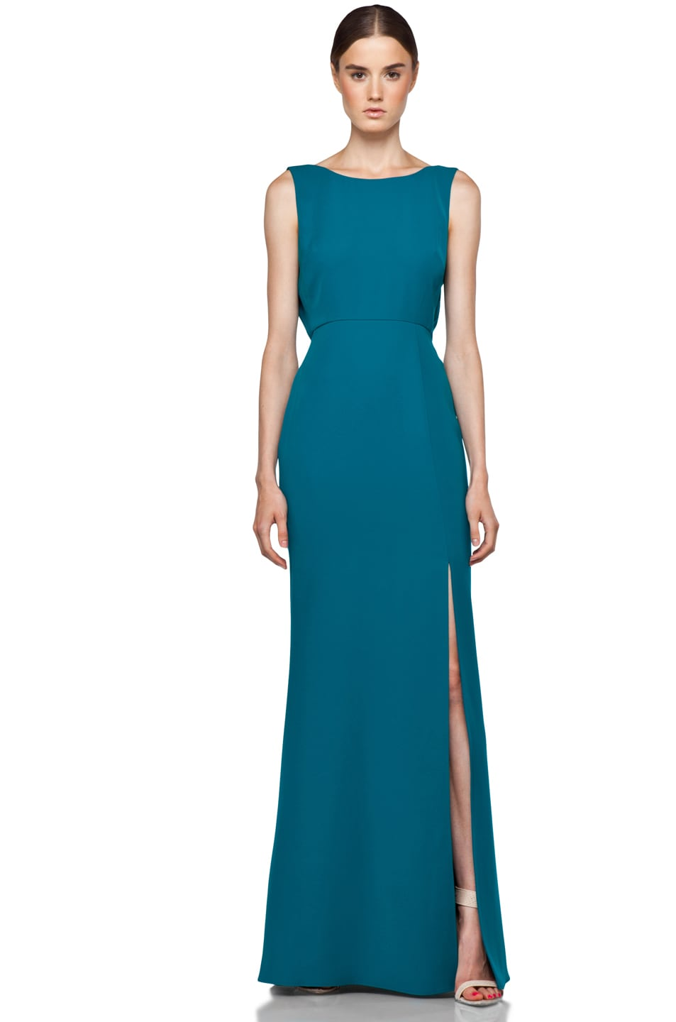 Rachel Zoe Kassie Cowl Back Gown in Teal | FWRD