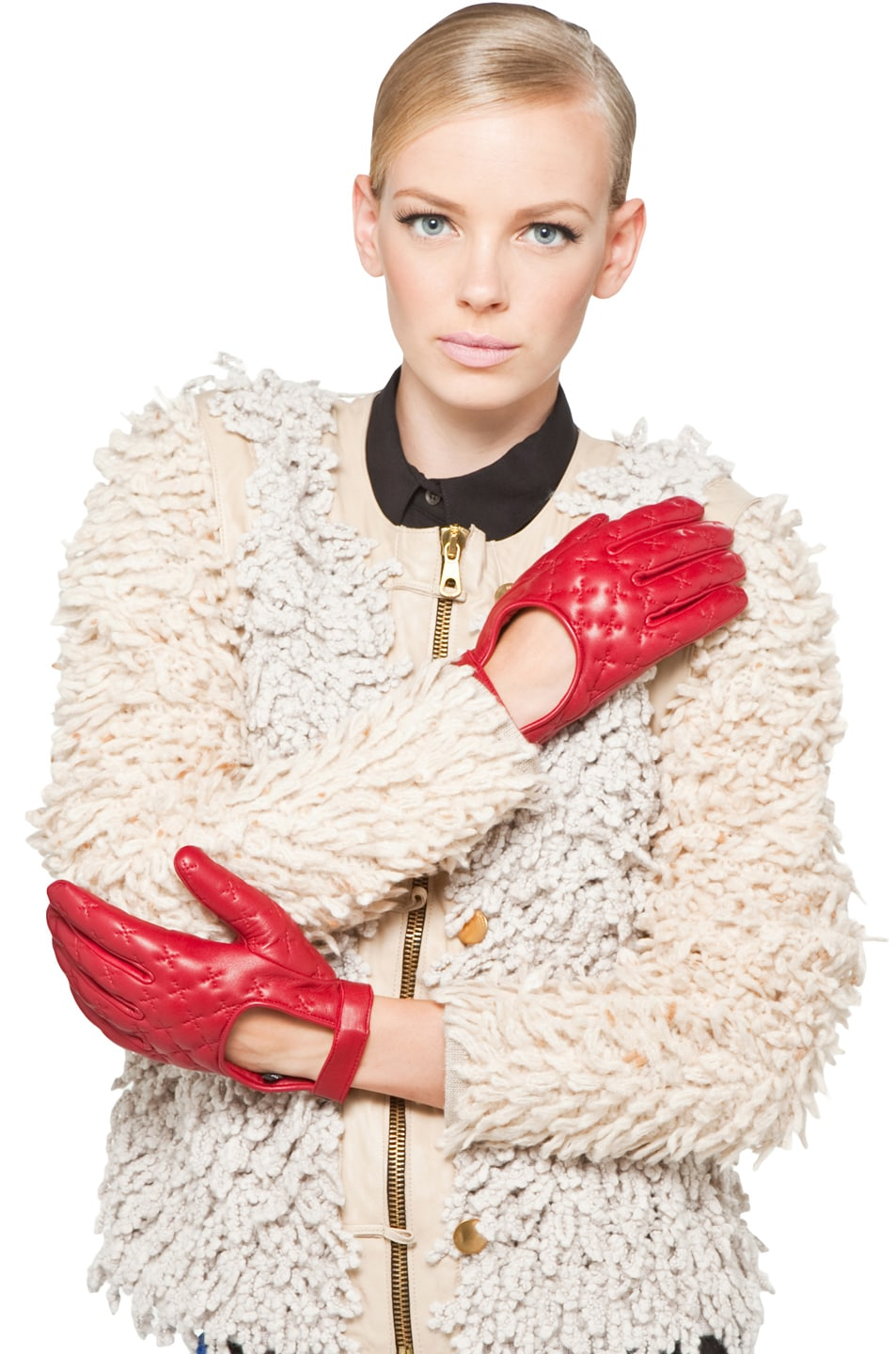 Image 4 of Rag & Bone Quilted Driving Glove in Sang