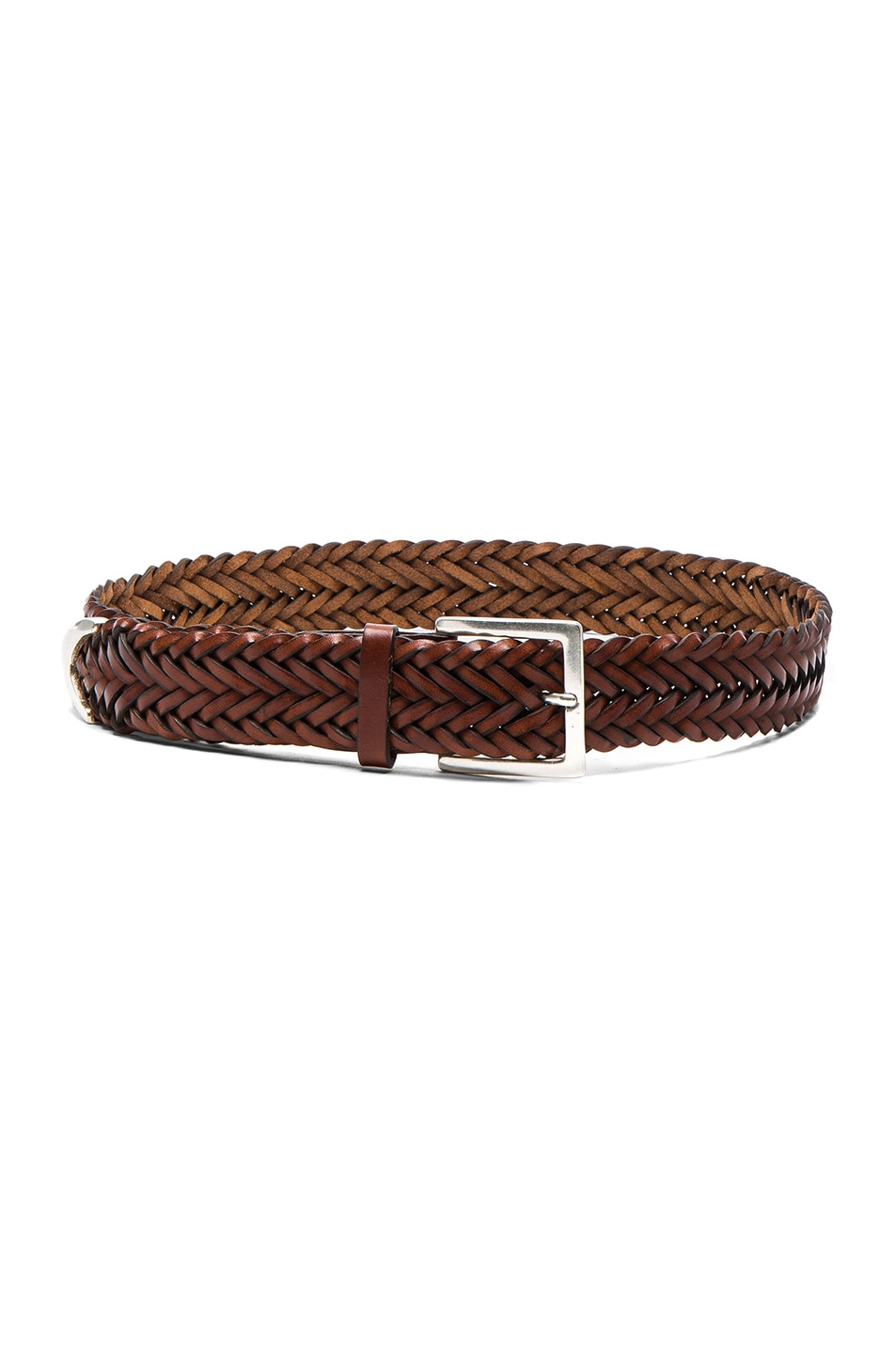 Image 1 of Rag & Bone Braided Belt in Saddle Brown