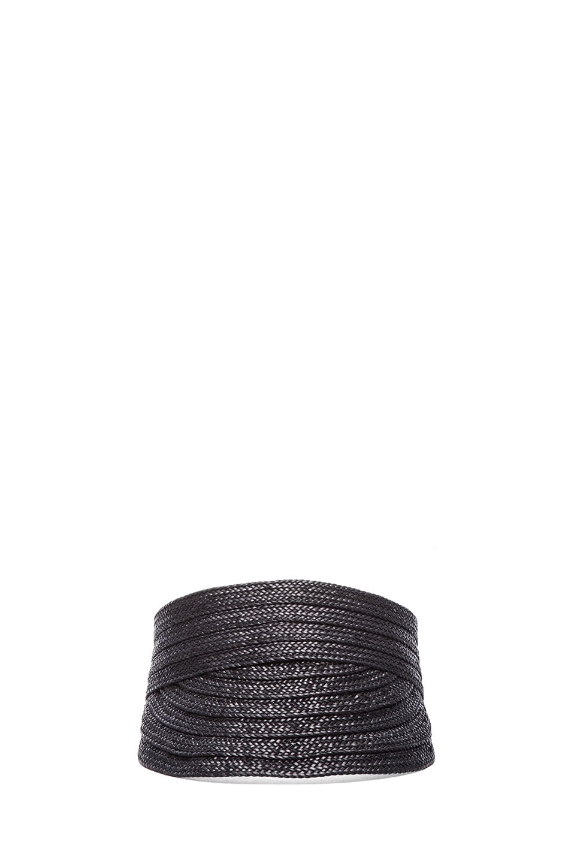 Image 1 of Rag & Bone Straw Visor in Black
