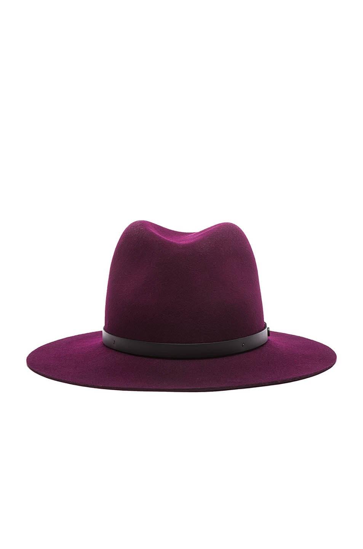 Image 1 of Rag & Bone Floppy Brim Fedora Hat in Cranberry