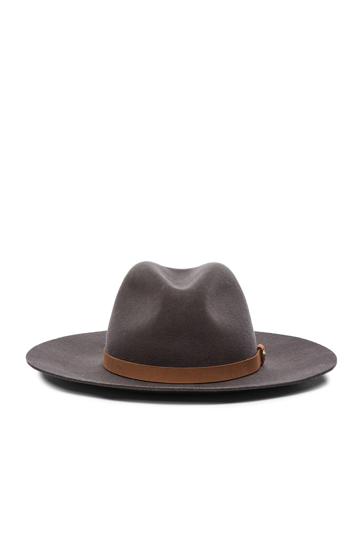 Image 1 of Rag & Bone Wide Brim Fedora Hat in Grey Multi