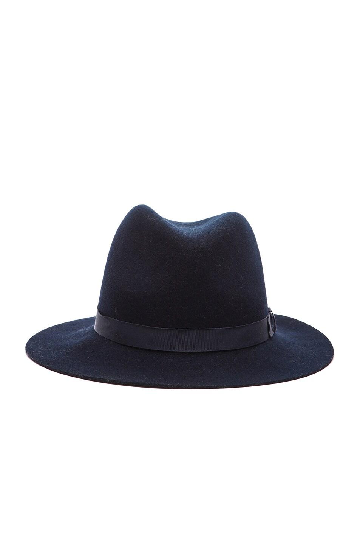 Image 1 of Rag & Bone Floppy Brim Fedora Hat in Navy