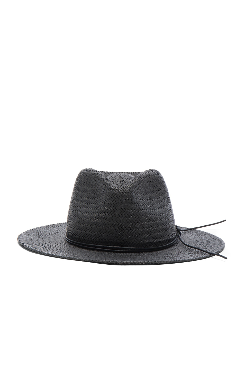 Image 1 of Rag & Bone Packable Straw Fedora in Black