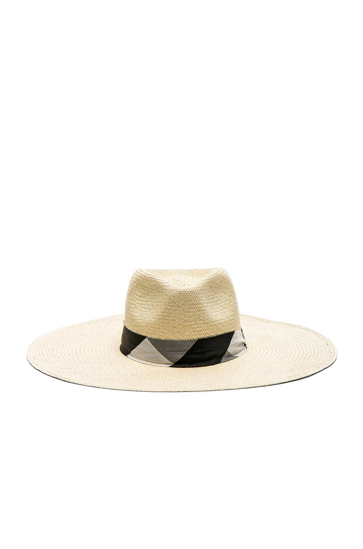 Image 1 of Rag & Bone Wide Brim Panama Hat in Natural Gingham