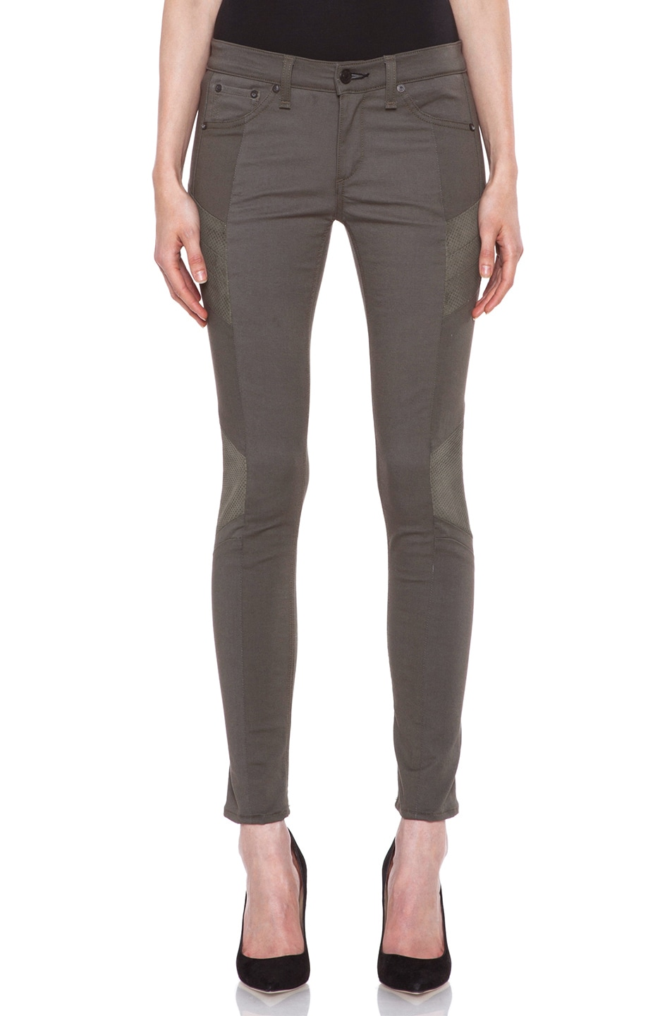 Image 1 of rag & bone/JEAN Halifax Slim-Paneled Legging with Leather in Army