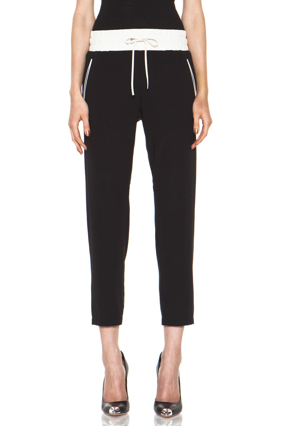Image 1 of Rag & Bone Silk Easy Pant in Black