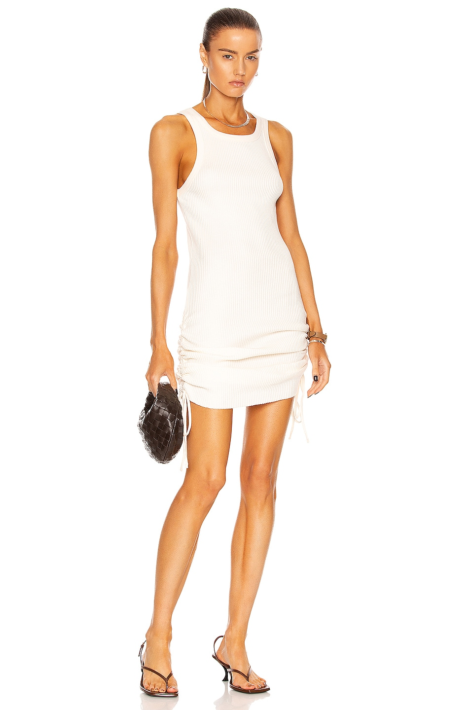 Image 1 of The Range Jumbo Thermal Cinched Mini Dress in Light Shell