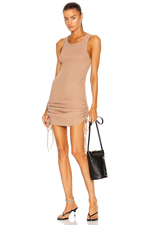 Image 1 of The Range Jumbo Thermal Cinched Mini Dress in Light Tawny