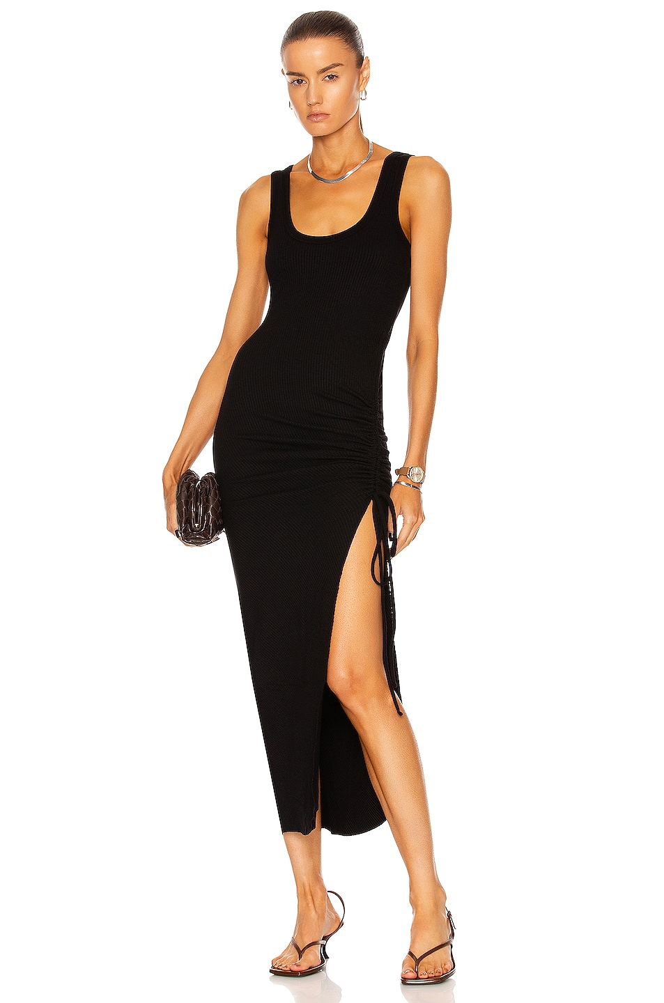 Image 1 of The Range Cinched Midi Dress in Black