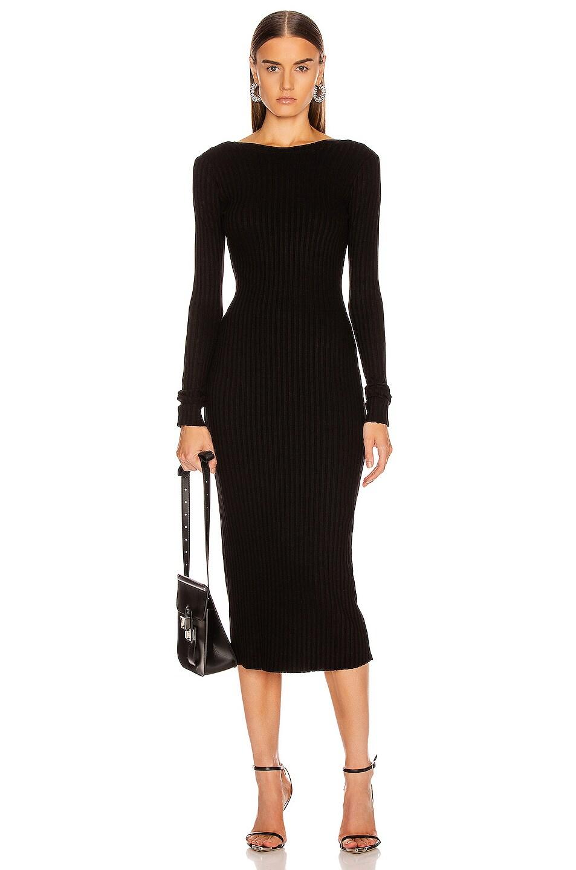 Image 2 of The Range Framed Rib Banded Midi Dress in Black