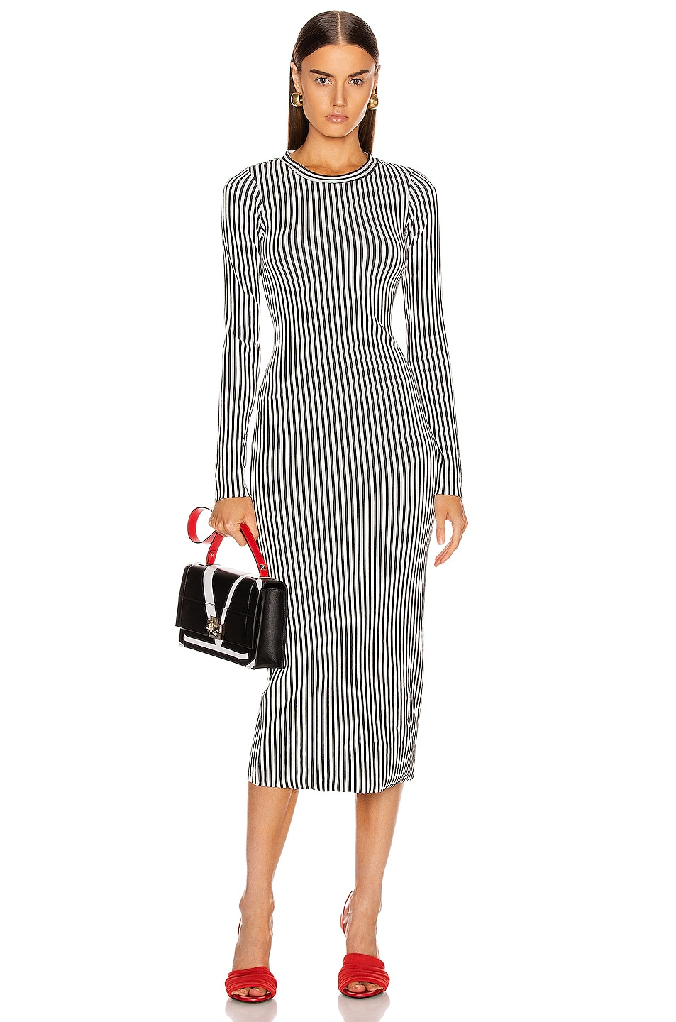 Image 1 of The Range Bound Striped Midi Dress in Black & White