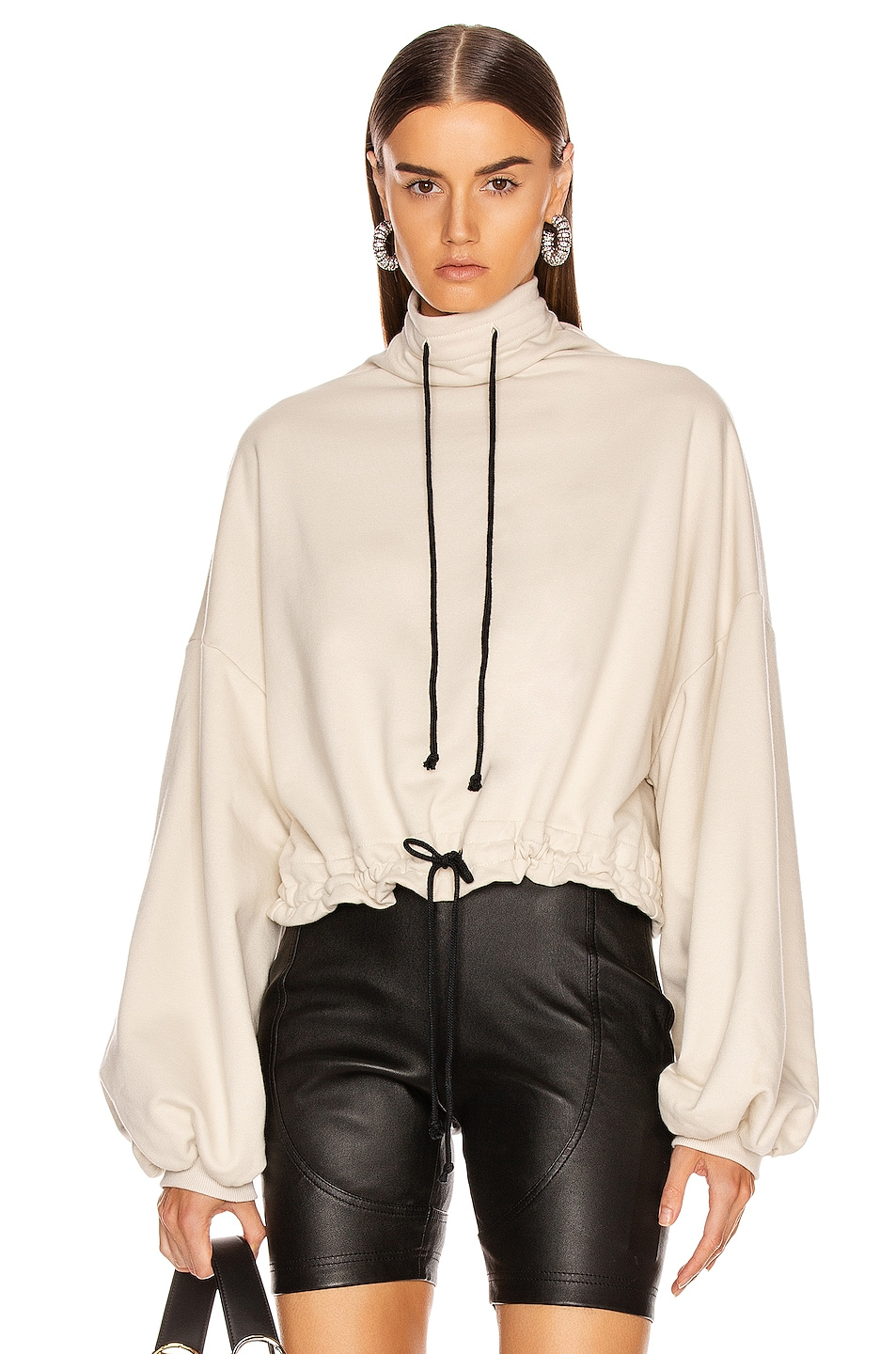 Image 1 of The Range Contra Terry Cinched Bubble Sleeve Sweatshirt in Limestone