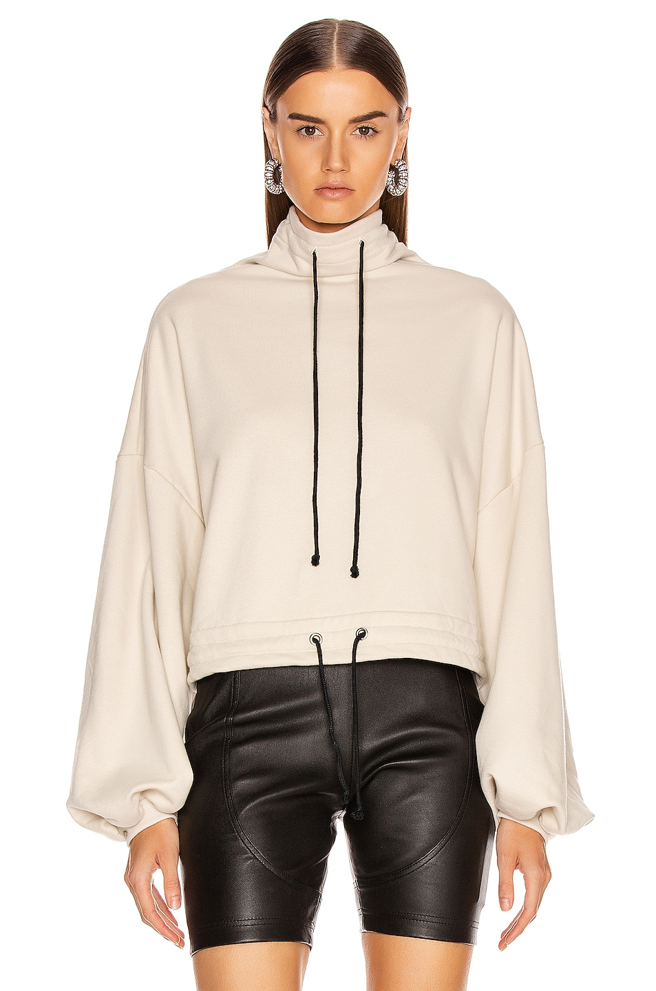Image 2 of The Range Contra Terry Cinched Bubble Sleeve Sweatshirt in Limestone