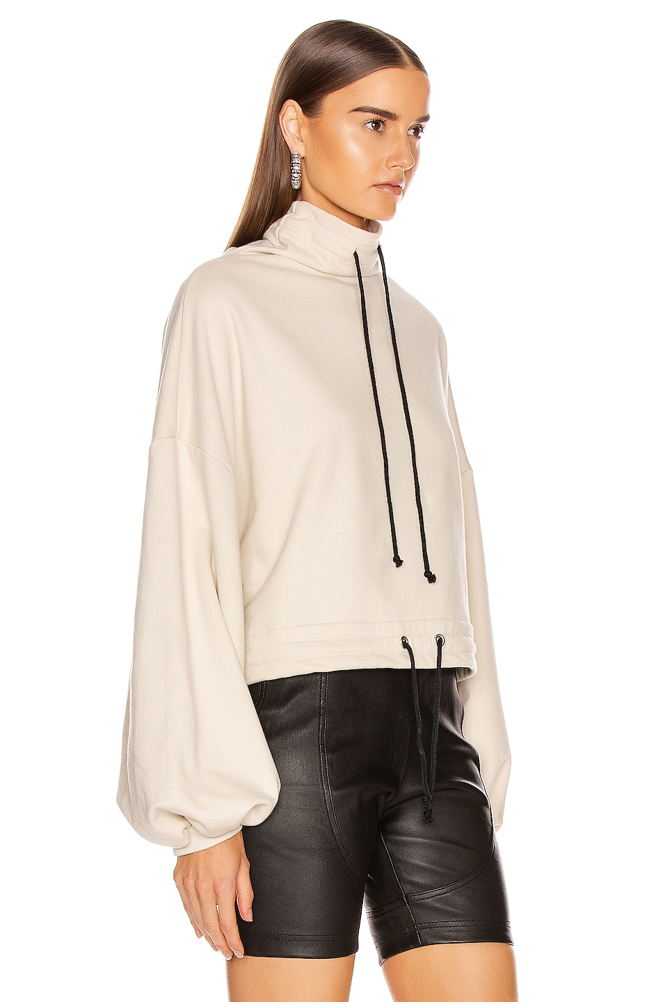 Image 3 of The Range Contra Terry Cinched Bubble Sleeve Sweatshirt in Limestone