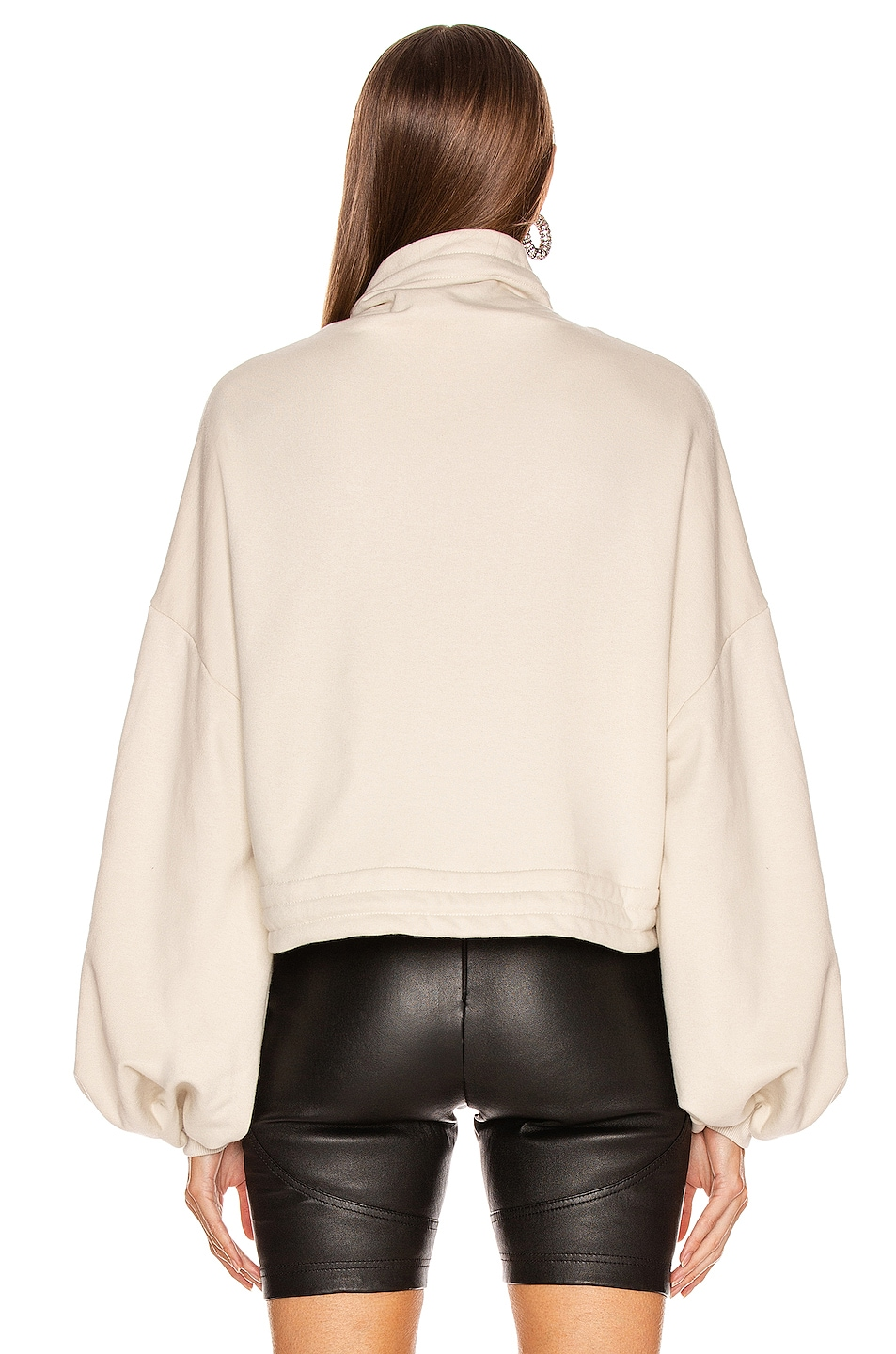 Image 4 of The Range Contra Terry Cinched Bubble Sleeve Sweatshirt in Limestone