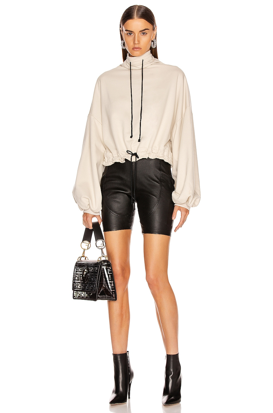 Image 5 of The Range Contra Terry Cinched Bubble Sleeve Sweatshirt in Limestone