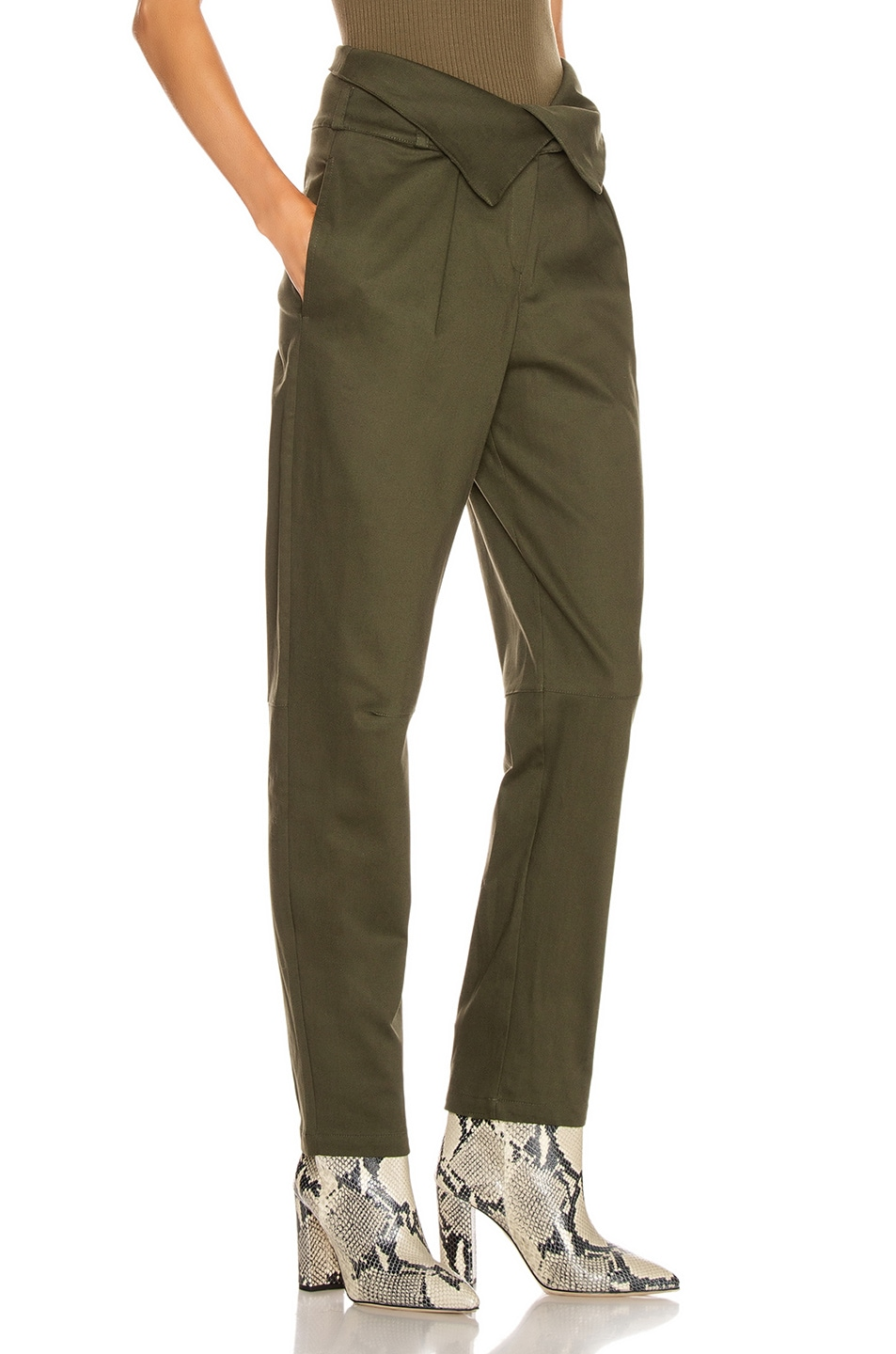 Image 2 of The Range Petite Corduroy Fold Over Pant in Deep Woods
