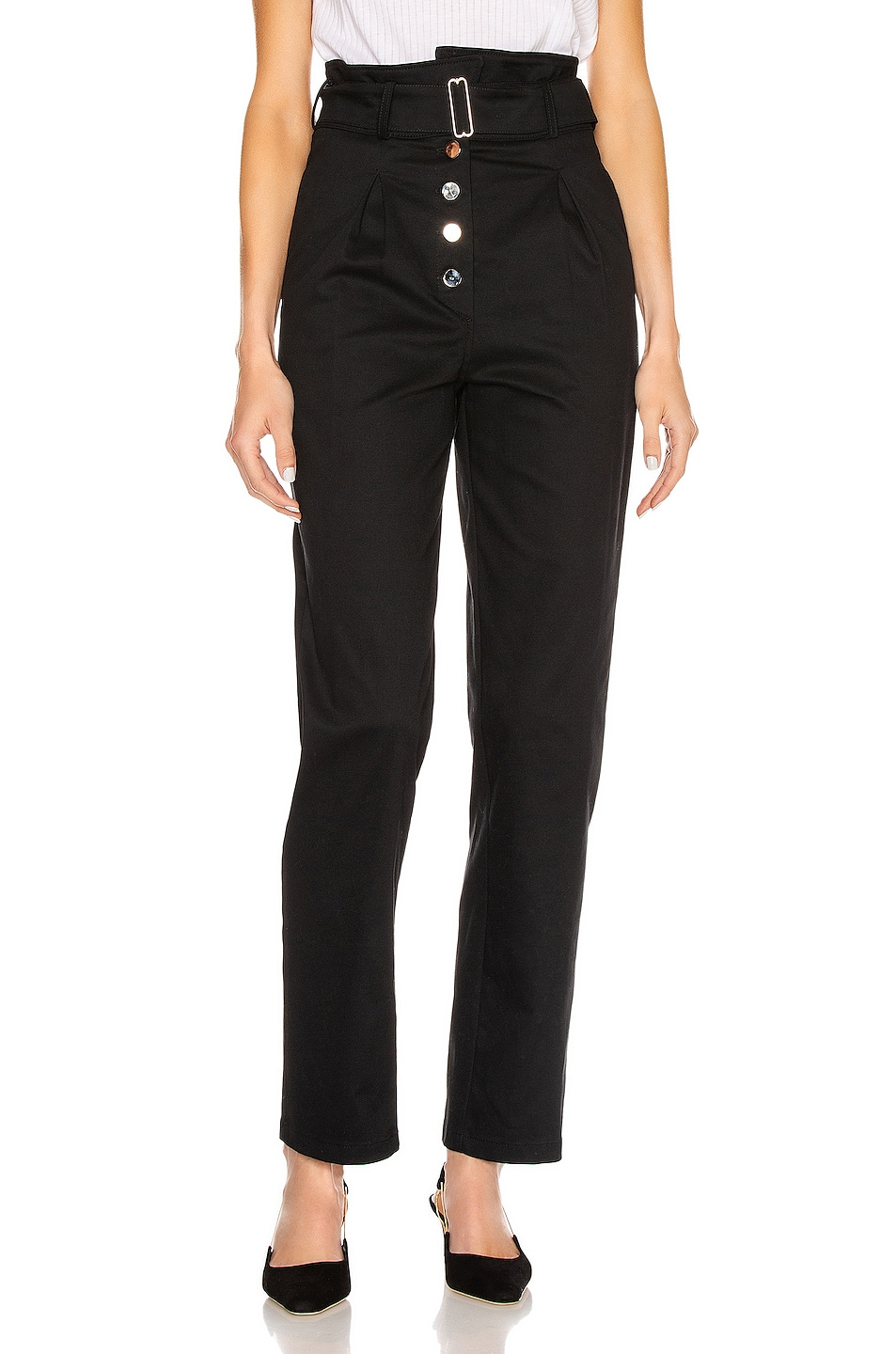 Image 1 of The Range Structured Twill Belted Paperbag Pants in Black